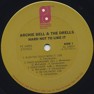 Archie Bell And Drells / Hard Not To Like It label