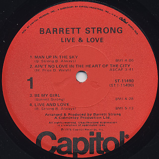 Barrett Strong / Live And Love label