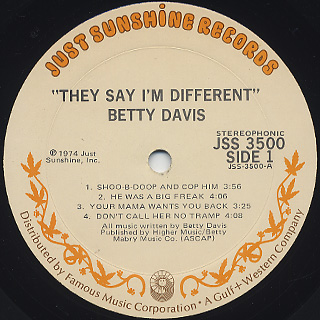 Betty Davis / They Say I'm Different label