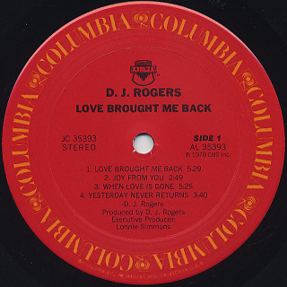 D.J. Rogers / Love Brought Me Back label