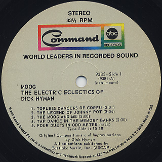 Dick Hyman / Moog - The Electric Eclectics Of Dick Hyman label