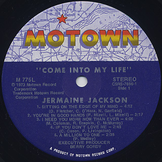 Jermaine Jackson / Come Into My Life label