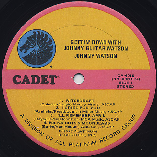 Johnny Guitar Watson / Gettin' Down With label