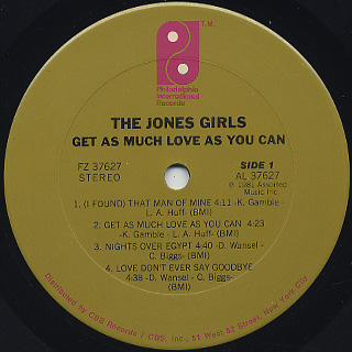 Jones Girls / Get As Much Love As You Can label