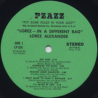 Lorez Alexandria / In A Different Bag label