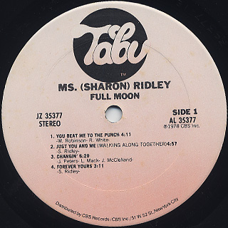 Ms. (Sharon) Ridley / Full Moon label