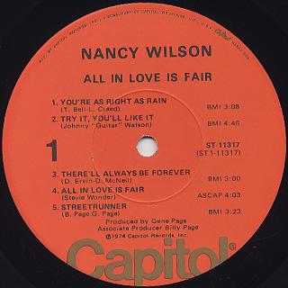 Nancy Wilson / All In Love Is Fair label
