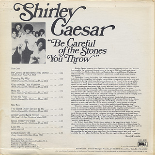 Shirley Casear / Be Careful Of The Stones You Throw back