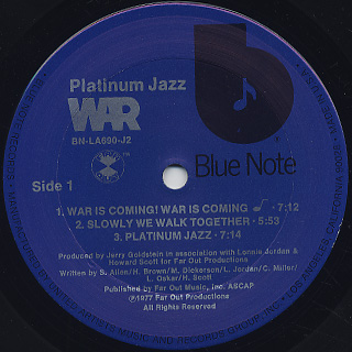 War / Platinum Jazz label