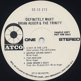 Brian Auger & The Trinity / Definitely What! label