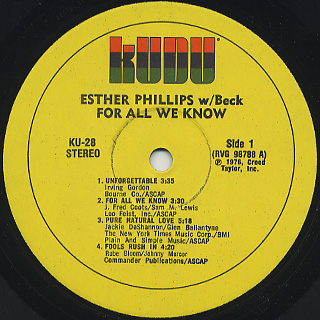 Esther Phillips With Beck / For All We Know label