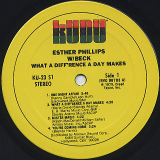 Esther Phillips w/ Beck / What A Diff'rence A Day Makes label