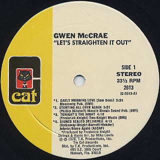 Gwen McCrae / Let's Straighten It Out label
