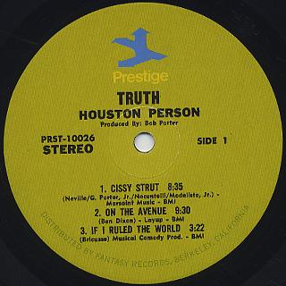 Houston Person / Truth! label