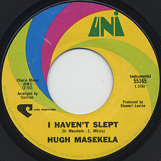 Hugh Masekela / I Haven't Slept c/w Where Has All The Grass Gone?