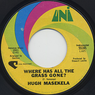 Hugh Masekela / I Haven't Slept c/w Where Has All The Grass Gone? back