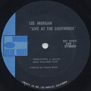 Lee Morgan / Live At The Lighthouse label
