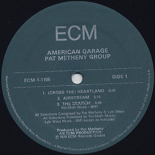 Pat Metheny Group / American Garage label