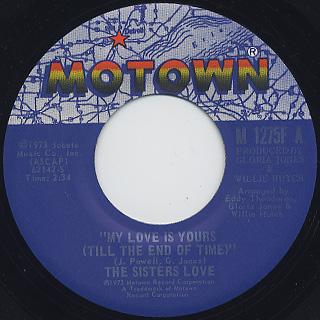 Sisters Love / My Love Is Yours (Till The End Of Time) front