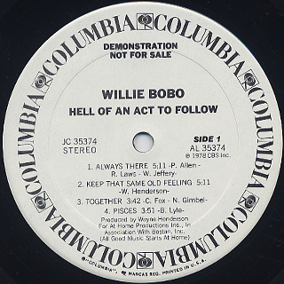 Willie Bobo / Hell Of An Act To Follow label