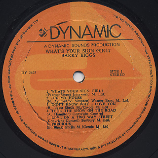 Barry Biggs / What's Your Sign? label