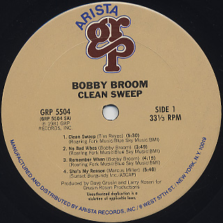 Bobby Broom / Clean Sweep label