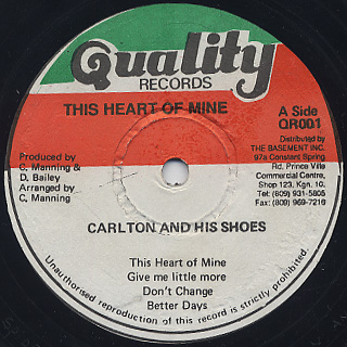 Carlton And The Shoes / This Heart Of Mine label