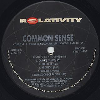 Common Sense / Can I Borrow A Dollar label