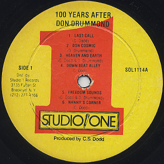 Don Drummond / 100 Years After label