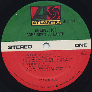 Energetics / Come Down To Earth label