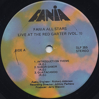 Fania All Stars / Live At The Red Garter Vol.1 label
