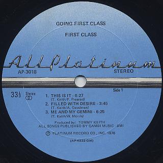 First Class / Going First Class label