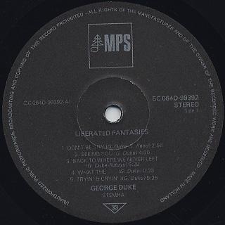George Duke / Liberated Fantasies label