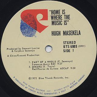 Hugh Masekela / Home Is Where The Music Is label