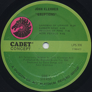 John Klemmer / Eruptions label