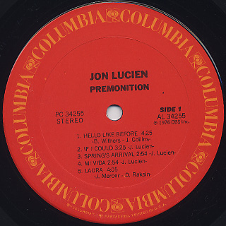 Jon Lucien / Premonition label