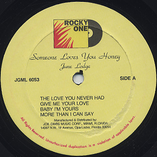 June Lodge / Someone Loves You Honey label