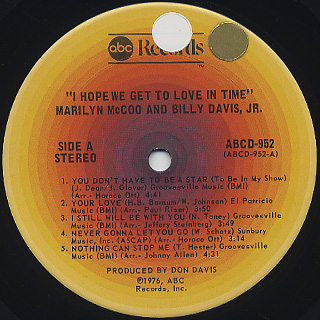 Marilyn McCoo & Billy Davis, Jr. / I Hope We Get To Love In Time label