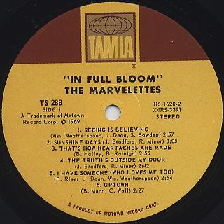 Marvelettes / In Full Bloom label