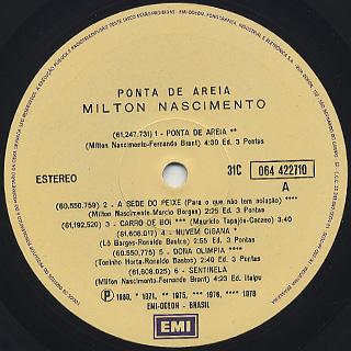 Milton Nascimento / Ponta De Areia label