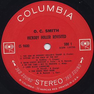 O. C. Smith / The Dynamic O. C. Smith - Recorded Live label