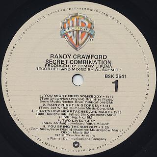 Randy Crawford / Secret Combination label