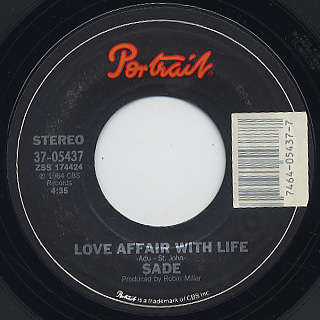 Sade / Your Love Is King c/w Love Affair With Life label
