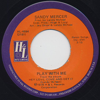 Sandy Mercer / Play With Me c/w You Are My Love