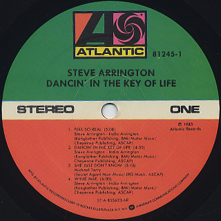 Steve Arrington / Dancin' In The Key Of Life label