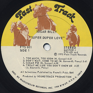 Sugar Billy / Super Duper Love label