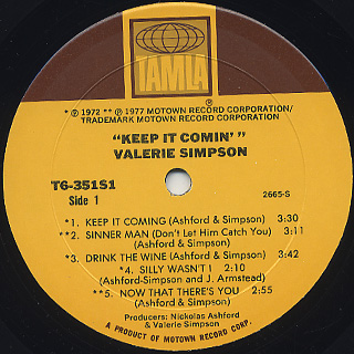 Valerie Simpson / Keep It Comin' label