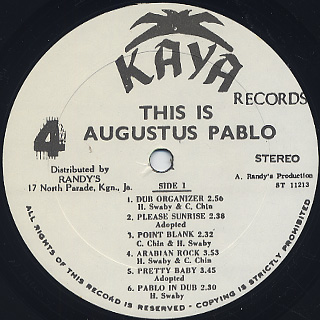 Augustus Pablo / This Is Augustus Pablo label