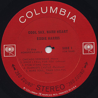 Eddie Harris / Cool Sax Warm Heart label