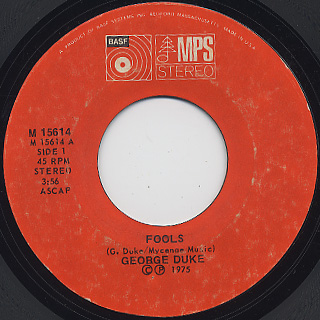 George  Duke / Fools c/w For Love front